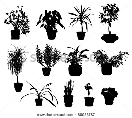 9 Potted Plants Silhouette Vector Images