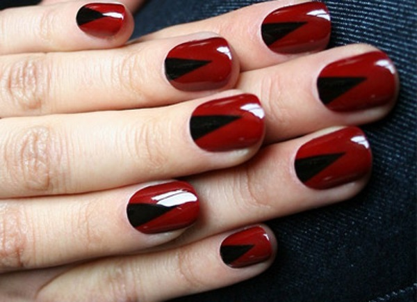 Red V-shaped Nail Art Design