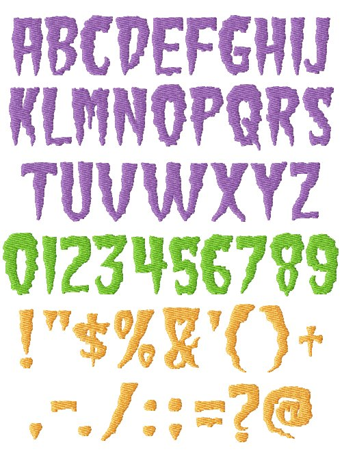 Scary Machine Embroidery Fonts