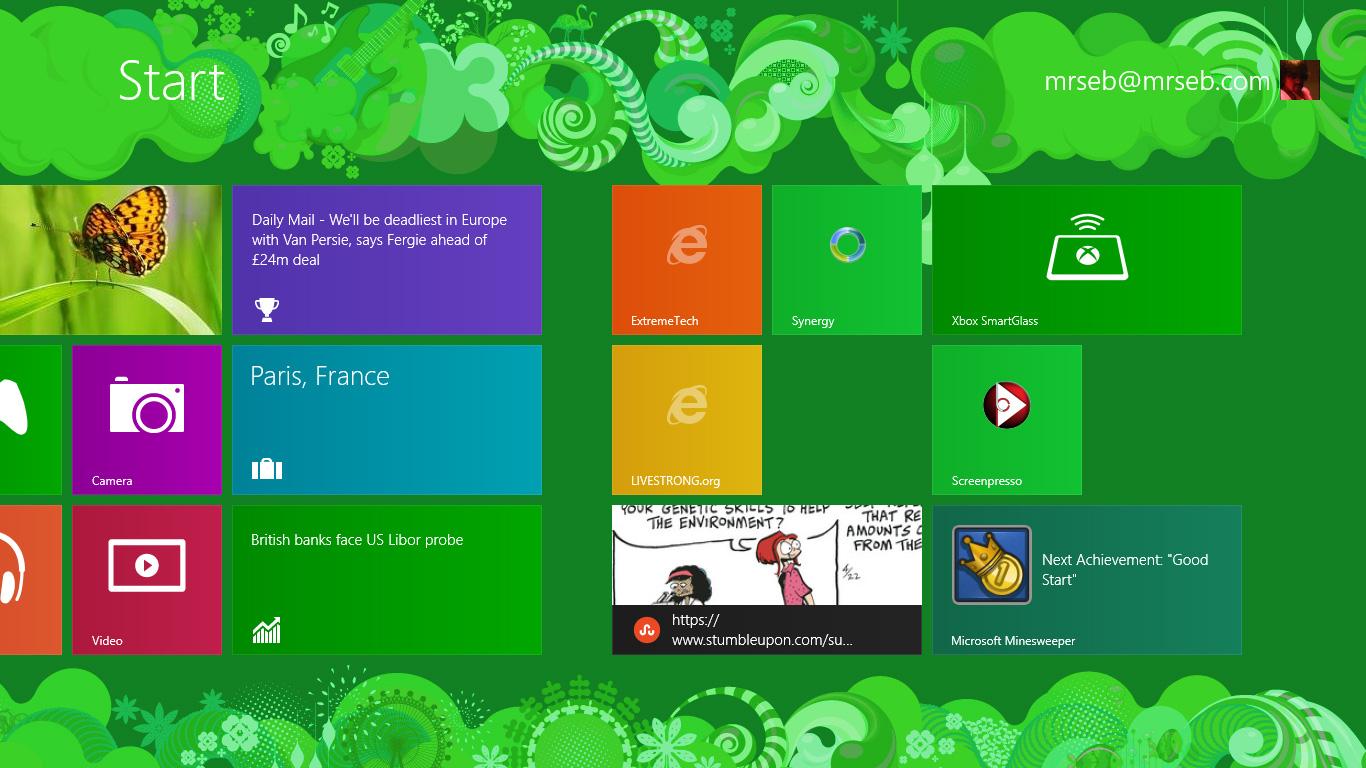 Windows 8 Start Screen Desktop