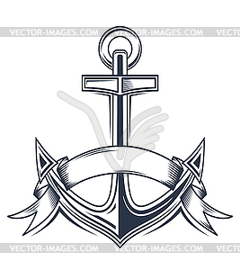 Anchor with Ribbon Clip Art