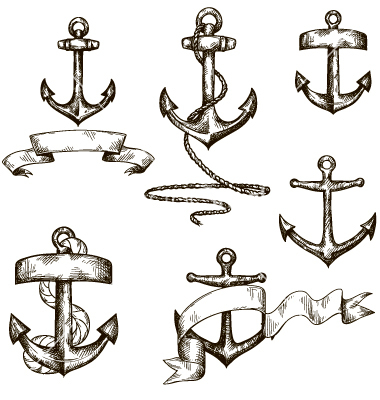 Anchor with Ribbon Drawing