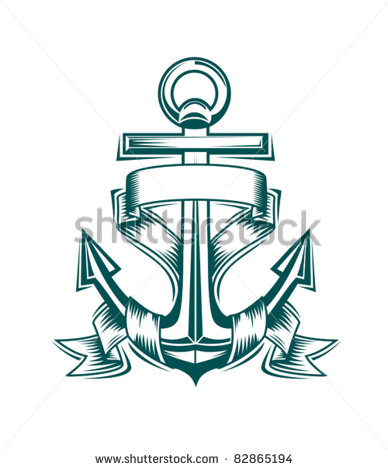 Anchor with Ribbon Tattoo