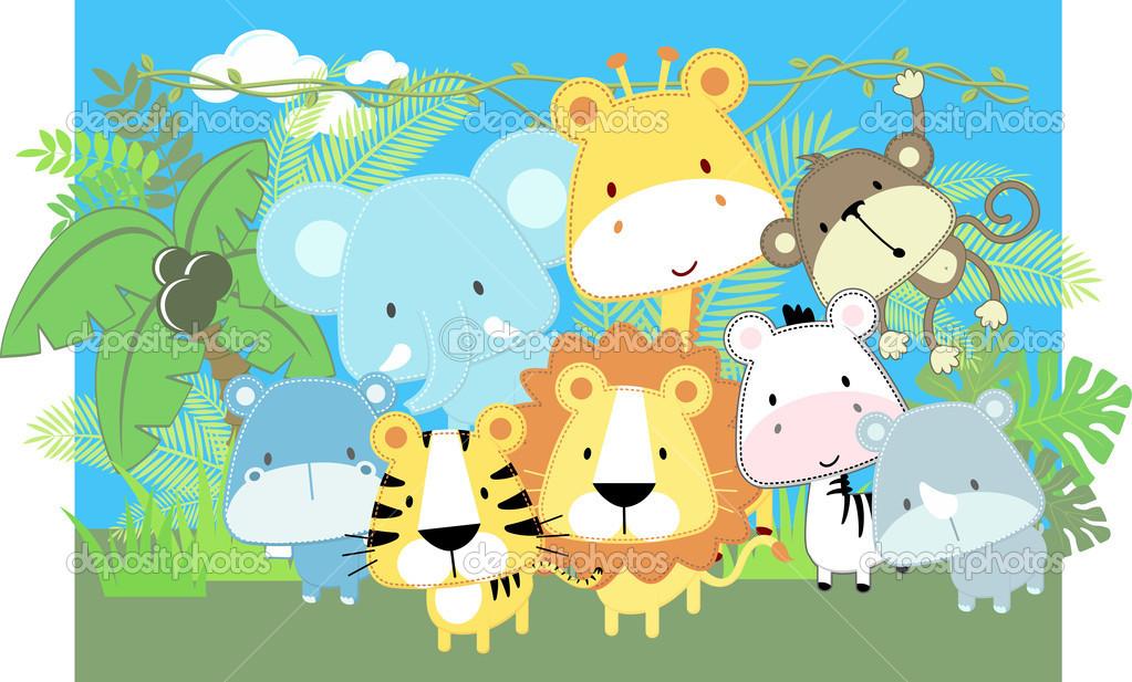 Baby Jungle Animals Clip Art