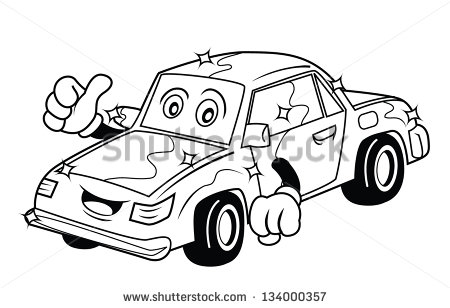 Black and White Cartoon Race Cars