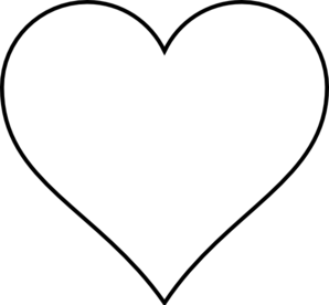 Black and White Heart Outline Clip Art