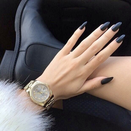 14 Black Pointy Nail Designs Tumblr Images Pointy Nail