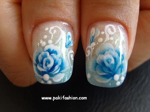 Blue Rose Nail Design