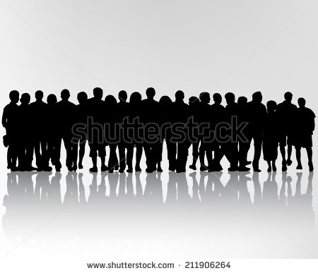 Standing crowd silhouette - photo#20