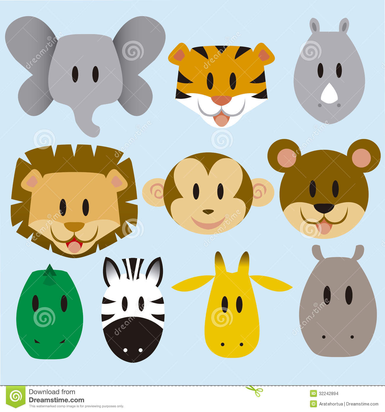 18 Cartoon Baby Jungle Animals Vector Images - Cartoon ...