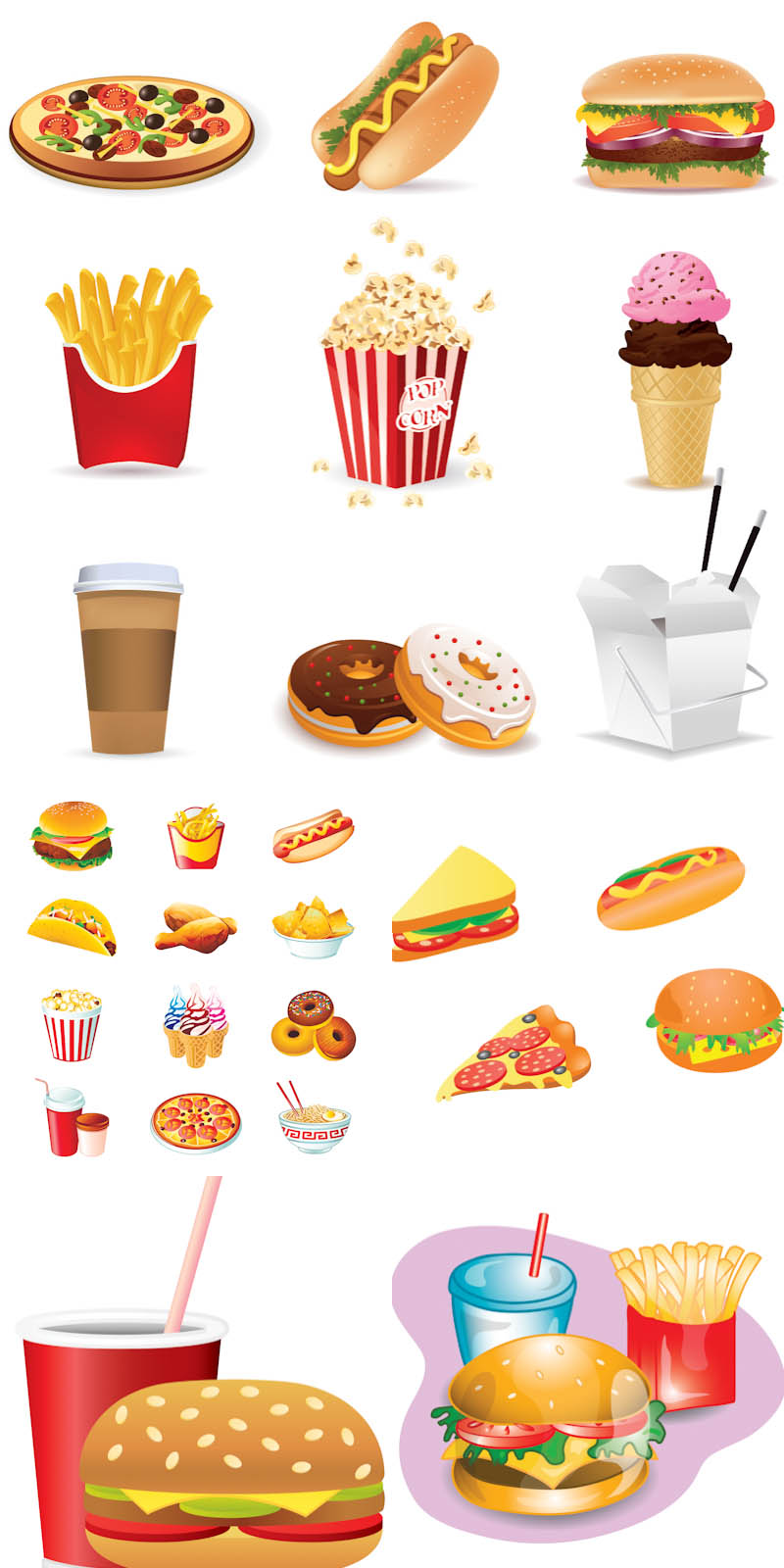 Fast Food Vector Icons