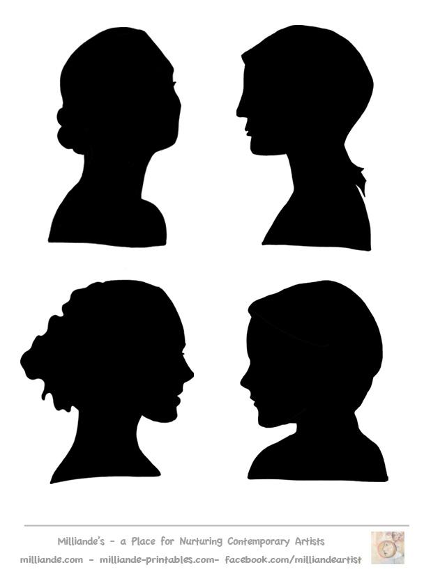 Female Face Silhouette Stencil