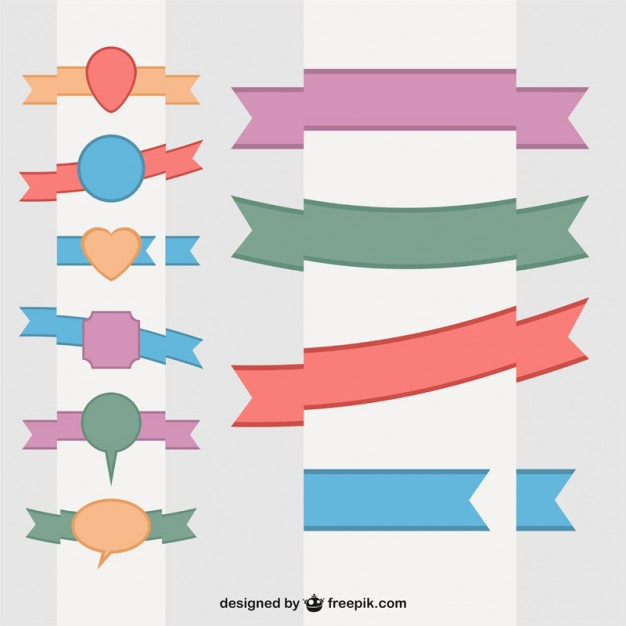 Flat Ribbons Vector Free