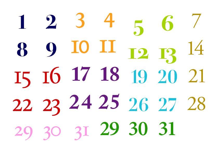 Font Calendar Numbers