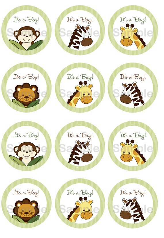 Free Printable Baby Jungle Animal Cupcake Toppers