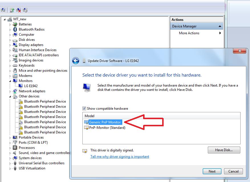 Generic PnP Monitor Windows 7