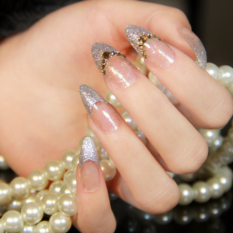 15 Rhinestone Nail Designs With Glitter Tips Images - Acrylic Nail