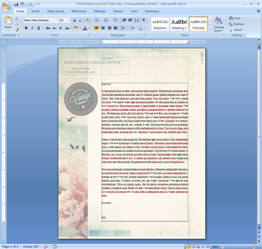 word page design