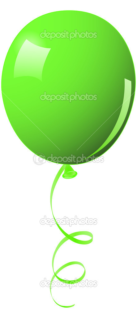 Green Balloon with String