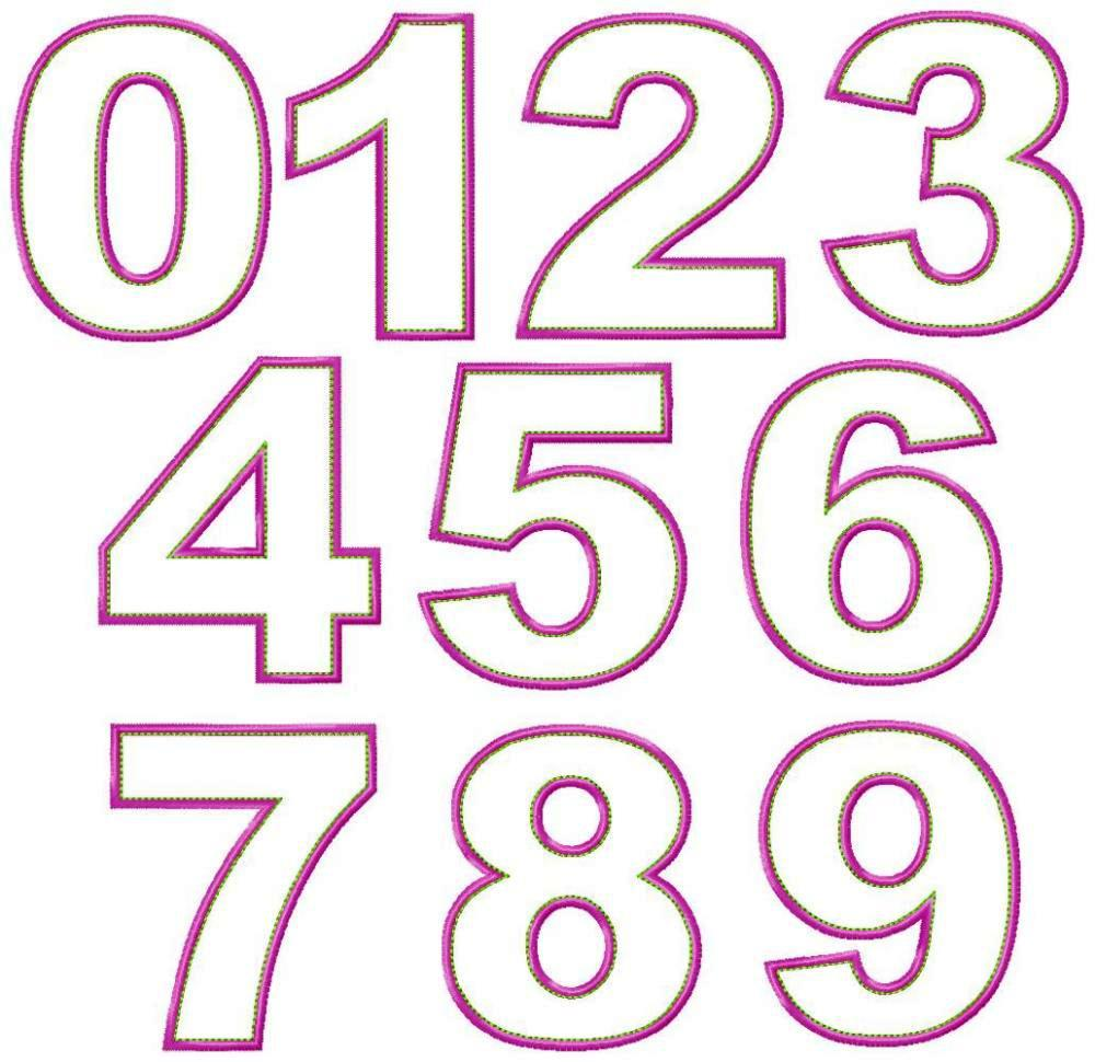 Large Embroidery Number Fonts