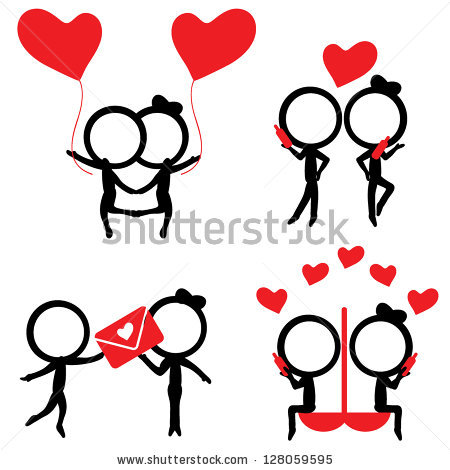 Love Couples Stick Figures