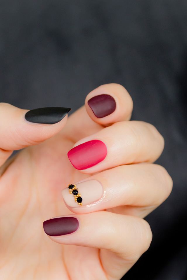 9 Matte Red Nail Designs Images Matte Black And White Nail Art