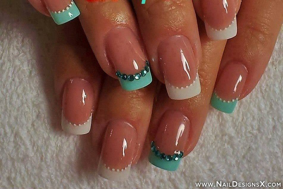 Mint and White French Tip Nail Designs