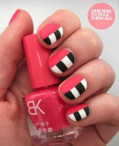 Nail Pink Black and White Stripe