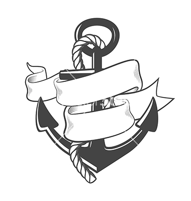 Nautical Anchor with Rope and Ribbon Vector