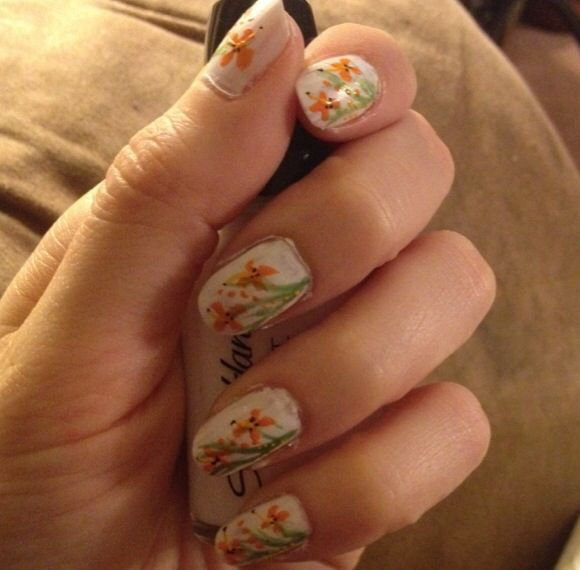 Orange Flower Art Nails