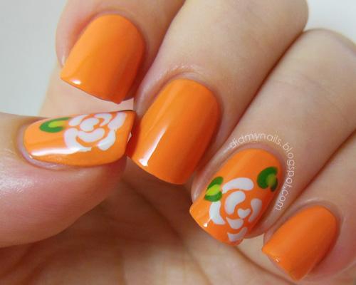 Orange Nail Designs with Color