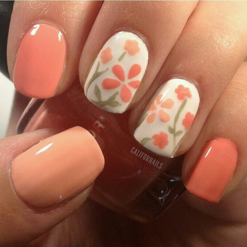 Peach Nails with Flowers