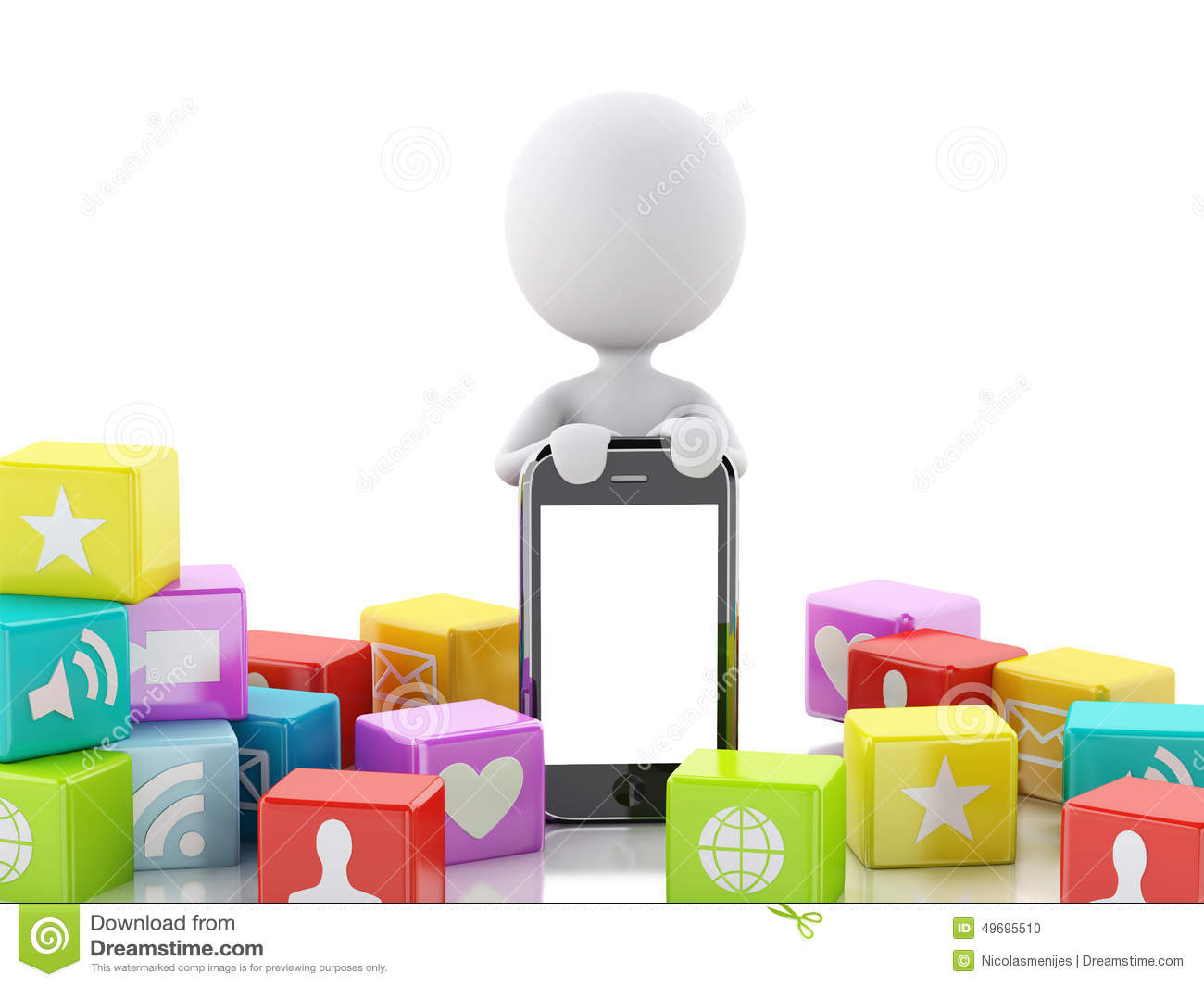 People Icon with Mobile Phones