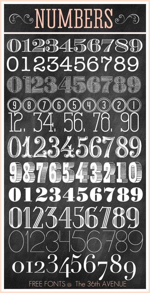 13 Number Fonts To Print Images