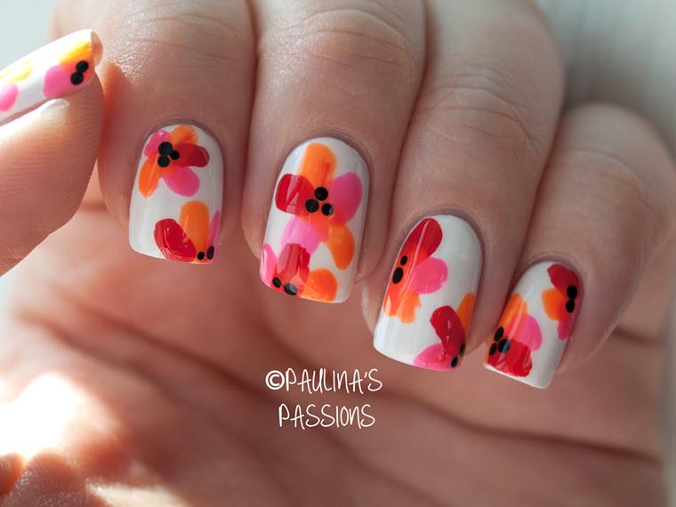 Tropical Flower Nail Designs