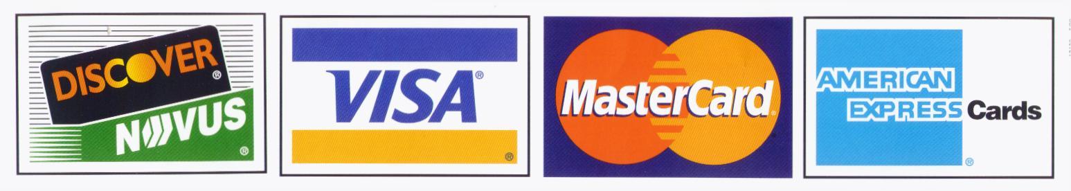 Visa MasterCard American Express Credit Card Logos