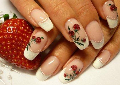 White Rose Nail Design