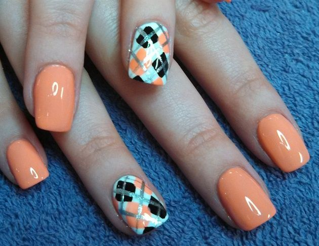 11 Orange Green White Nail Art Designs Images Orange And White