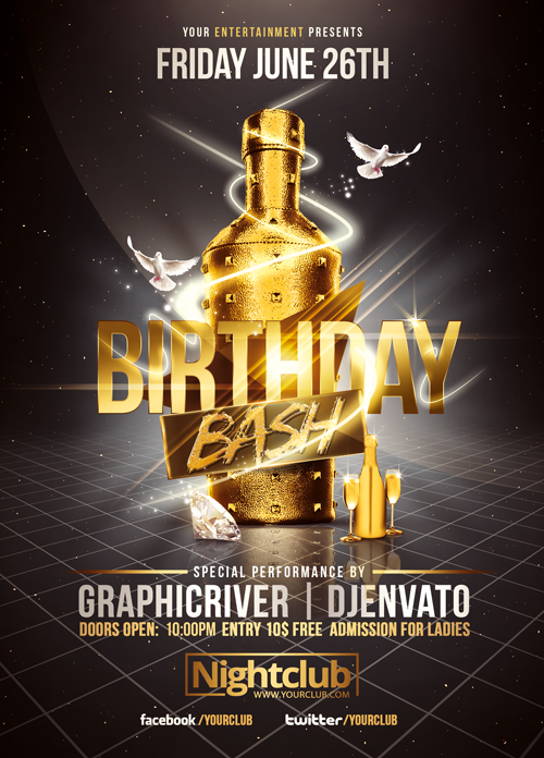 14 golden party psd images