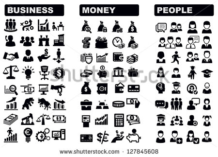 Black and White Business People Icons