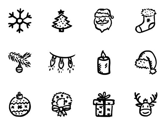 16 Holiday Black And White Icons Images
