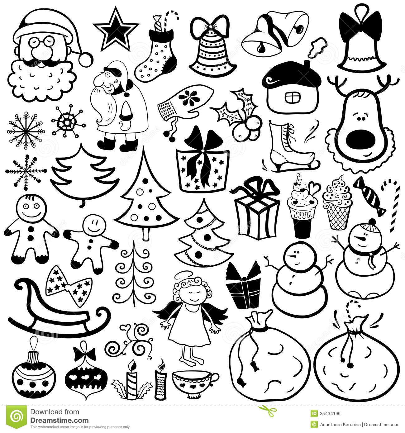 Black and White Christmas Icons