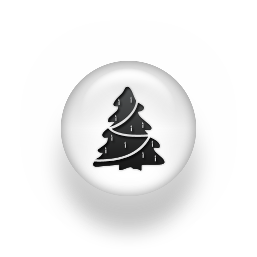 Black and White Christmas Tree Icon