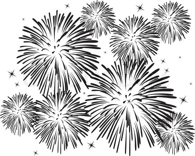10 Fireworks Vector Black And White Images