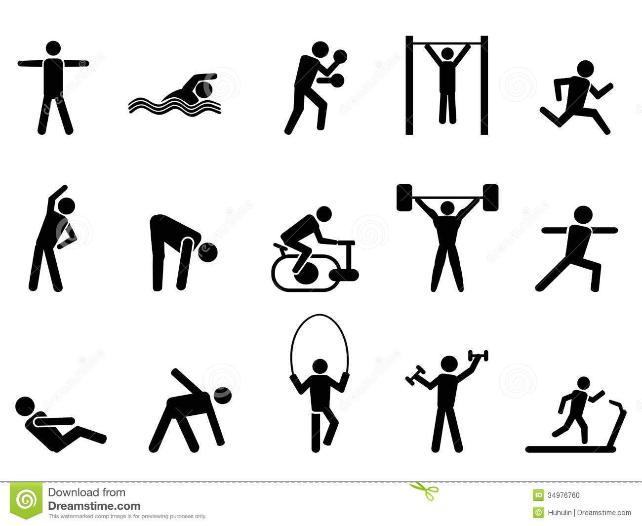 Black and White Fitness Icons