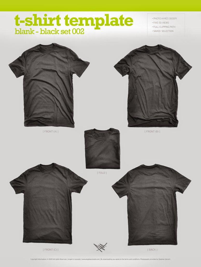 Black T-Shirt Template PSD