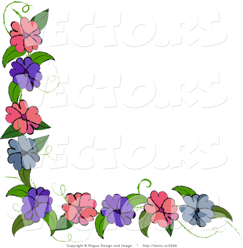 Blue and Purple Flower Corner Border