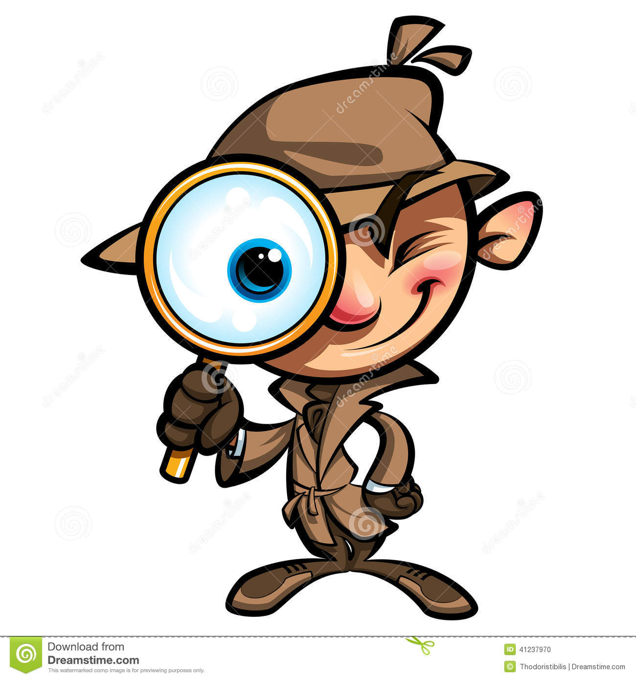 Detective with Magnifying Glass Clip Art