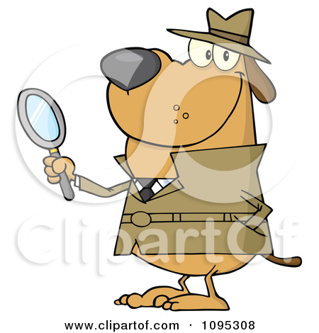 Dog Clip Art Detective Magnifying Glass