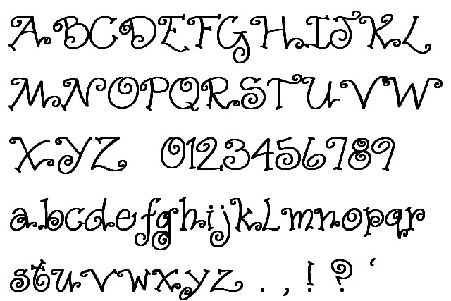 Font with Swirl Letters